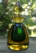 Vintage Murano Sommerso Art Glass Perfume Bottle In Green And Yellow 3-7/8