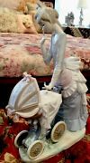 Lladro Large Porcelain Figurine Called Babyandrsquos Outing 12.5andrdquo Tall Spain Mint