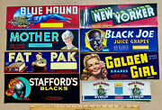 8 Great Vintage Labels - 7 Fruit Grape Crate And 1 Syrup Super Graphics