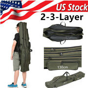 Folding Fishing Rod Pole Tools Gear Tackle Carrier Canvas Storage Bag Case Usa