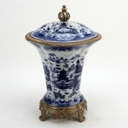 Porcelain Blue Willow Chinese Crown Lidded Jar With Bronze Ormolu