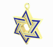 Star Of David Pendant 54 Natural Diamonds 0.14 Tcw Solid 14k Gold Made In Israel