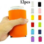 12pcs Neoprene Cooling Beer Can Cooler Insulated Foldable Cover Drinks Bottle