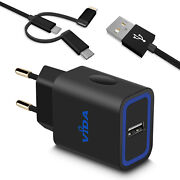 Travel 12w Smart Usb Wall Charger European 2-pin Plug And Universal Charging Cable
