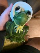 Vintage Handmade Adorable Baby Ceramic Frog Planter With Free Shipping