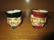 Vintage Lot Of 2 Miniature Toby Mugs Made In Japan Condition Issues