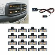 Car Front Amber 32 Led Grill Mount Strobe Light Emergency Flashing Tow Truck Kit