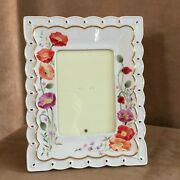 Lenox Poppies On Pink Picture Frame Porcelain 5x7 Floral Photo Flower China