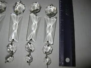 Lot Of 7 Antique Chandelier Prism Crystal Glass Basket Chain Octagons And Coffin