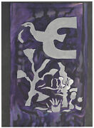 Georges Braque Original Color Lithograph Chapelle St. Bernard Purple Bird 1964
