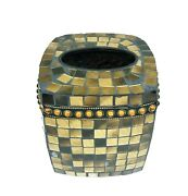 New Amber Brown Glass Mosaic Tissue Box,cover,napkin,holder With Rhinestones