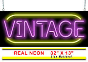 Vintage With Border Neon Sign | Jantec | 32 X 13 | Old Antique Classic Arcade