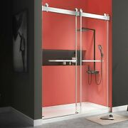 Shower Doors 60x76 Frameless Double Sliding With Clear Tempered Glass