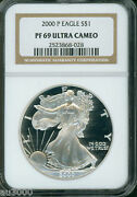 2000-p American Silver Eagle S1 Ase Ngc Pf69 Pr69 Proof Ultra Cameo