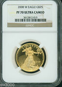 2008-w 25 Gold Eagle 1/2 Oz. Ngc Pf70 Proof Coin Pr70 Pf-70