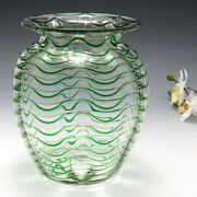 A Stevens And Williams Green Trailed Vase C1930