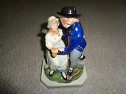 1870 Staffordshire Figurine Couple Woman Holding Bag Man Blue Coat Chest Of Mone