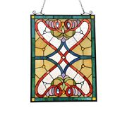 Stained Glass Window Panel Victorian Stained Cut Glass Style 18 X 25