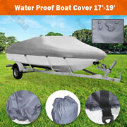 Uv Protection 17-19 Ft Boat Cover Waterproof V-hull 95and039and039 Beam Fishing Base Bbt2n