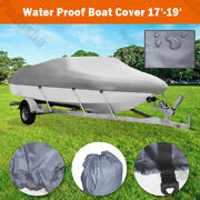Uv Protection 17-19 Ft Boat Cover Waterproof V-hull 95and039and039 Beam Fishing Base Bbt2q