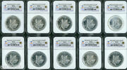 Ten 10 2008 Canada Maple Leaf 1 Oz S5 Silver Vancouver 2010 Olympics Ngc Ms69