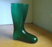 Antique Teal Green Glass German Beer Drinking Boot 7 1/4tall Ground Lip