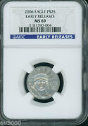 2006 25 Statue Liberty Platinum 1/4 Oz. Eagle Ngc Ms69 Early Releases E.r.