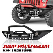 Fieryred Steel Front Bumper With Winch Plate Shackles For Jeep Wrangler 07-18 Jk