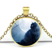 New Special Vintage Cat Cabochon Tibetan Silver Glass Chain Pendant Necklace Hot