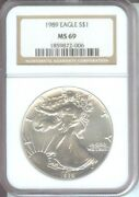 1989 American Silver Eagle S1 Ase Ngc Ms69 Ms-69 Premium Quality Pq+
