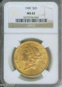 1900 1900-p 20 Liberty Double Eagle Ngc Ms-62 Gold Coin Ms62
