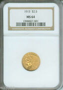 1915 2.5 Indian Quarter Eagle Ngc Ms64 Nice Ms-64 Better Date Older Holder