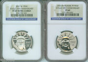 2007-w 10th Anniversary 50 Platinum Ngc Pr69 Pf69 Proof And Reverse 2-coins Set