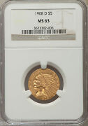 1908-d 5 Indian Half Eagle Ngc Ms63 Gold Coin Ms-63 Better Date