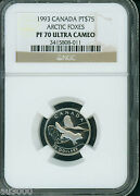 1993 75 Canada Arctic Foxes Proof Platinum Ngc Pr70 Pf70 Perfect And Scarce