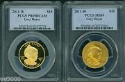 2011-w 10 Gold Spouse Lucy Hayes Pcgs Pr69 Pf69 And Ms69 2-coins Set