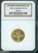 1994-w 5 Gold Soccer Football World Cup Wc Ngc Ms69 Ms-69 Near Perfect