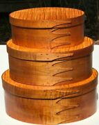 Tiger Maple Shaker Oval Boxes-stack Of 3andndash Sizes 3-5