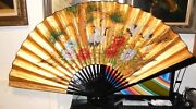 Huge Chinese Crane Birds Blossom Gold Gilt Watercolor Fan Painting Signed