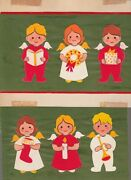 Christmas Cute Angels W/ Wreath Candle Trumpet 9x7 Greeting Card Art 1012 Lot