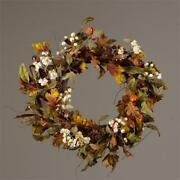 New Primitive Country Fall Leaves White Berry Acorn Wreath Grapevine 20