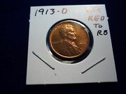 1913 D Lincoln Cent Penny Unc Red Obverse Red To Red Brown Reverse