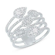 14k White Gold Diamond Wrap Ring Open Multi Band Leaf Statement Cocktail Natural