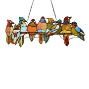 Window Panel Birds On Perch Stained Cut Glass Style 10 X 25