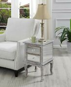 Mirrored End Table Sofa Side Accent Lamp Stand Glass Wood Modern Living Room New
