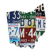 Ohio License Plate Map Cut Sign Birthplace Of Aviation State License Plates