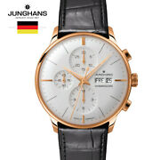 Junghans Meister Chronoscope 027/7323.00 Black Leather Watch For Man Andwoman
