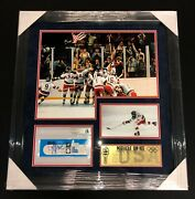 Mike Eruzione Signed 1980 Miracle On Ice Team Usa Framed Gold Medal Ticket Bas