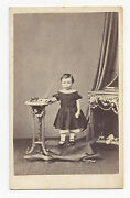 1860and039s Cdv Photo Child With German Painted Tin Toy Train Engine With 3 Cars