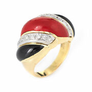 Red Coral Onyx Diamond Ring Vintage 14k Yellow Gold Scrolled Band Jewelry Sz 5.5